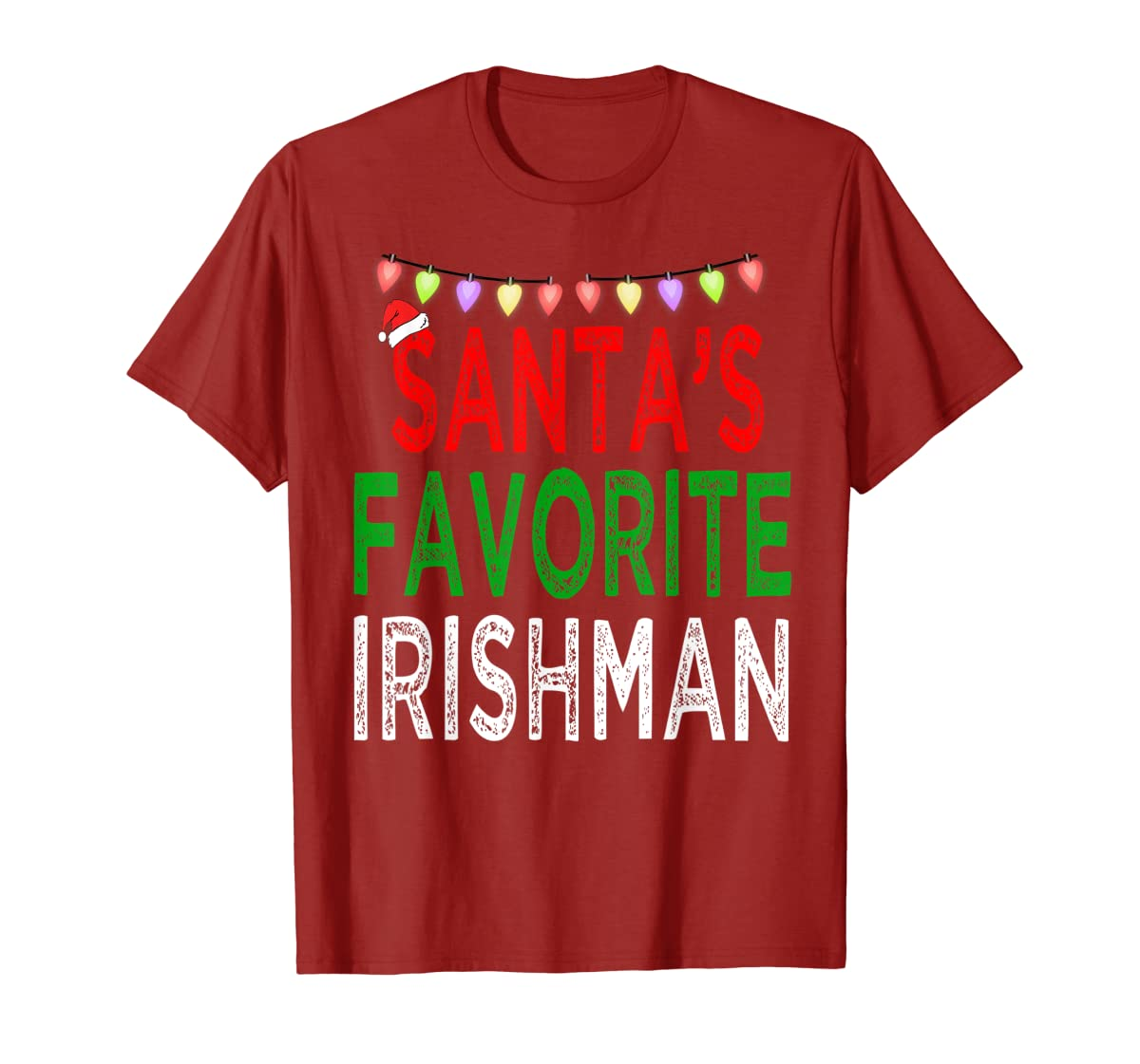 Santa's Favorite Irishman Christmas Xmas Lights Hat Gift T-Shirt-Men's T-Shirt-Red