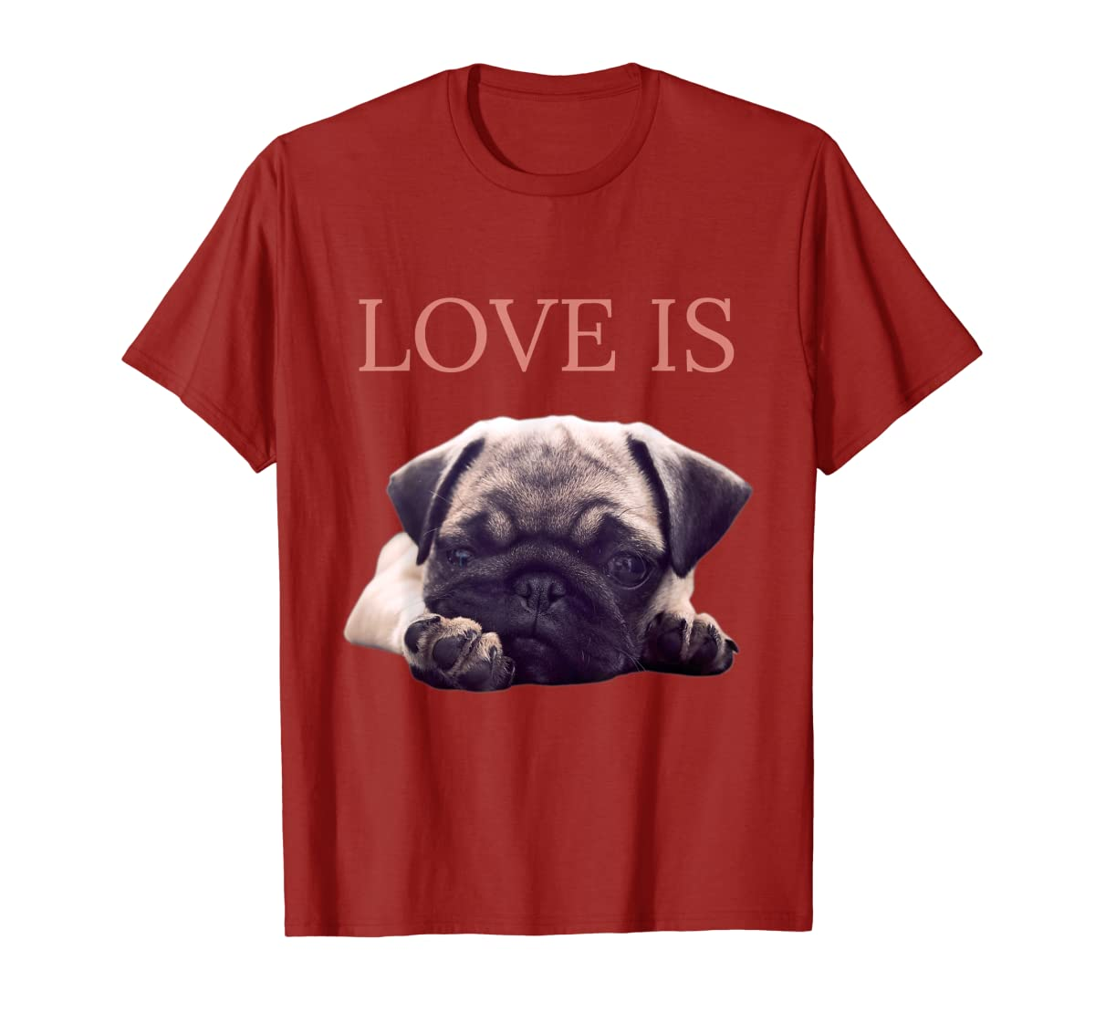 Mothers Day Pug Shirt Women Men Pug Mom Life Tee Love Is Dog-Men's T-Shirt-Red