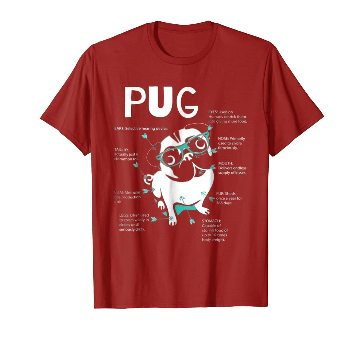 Anatomy Of A Pug Tshirt-Men's T-Shirt-Red