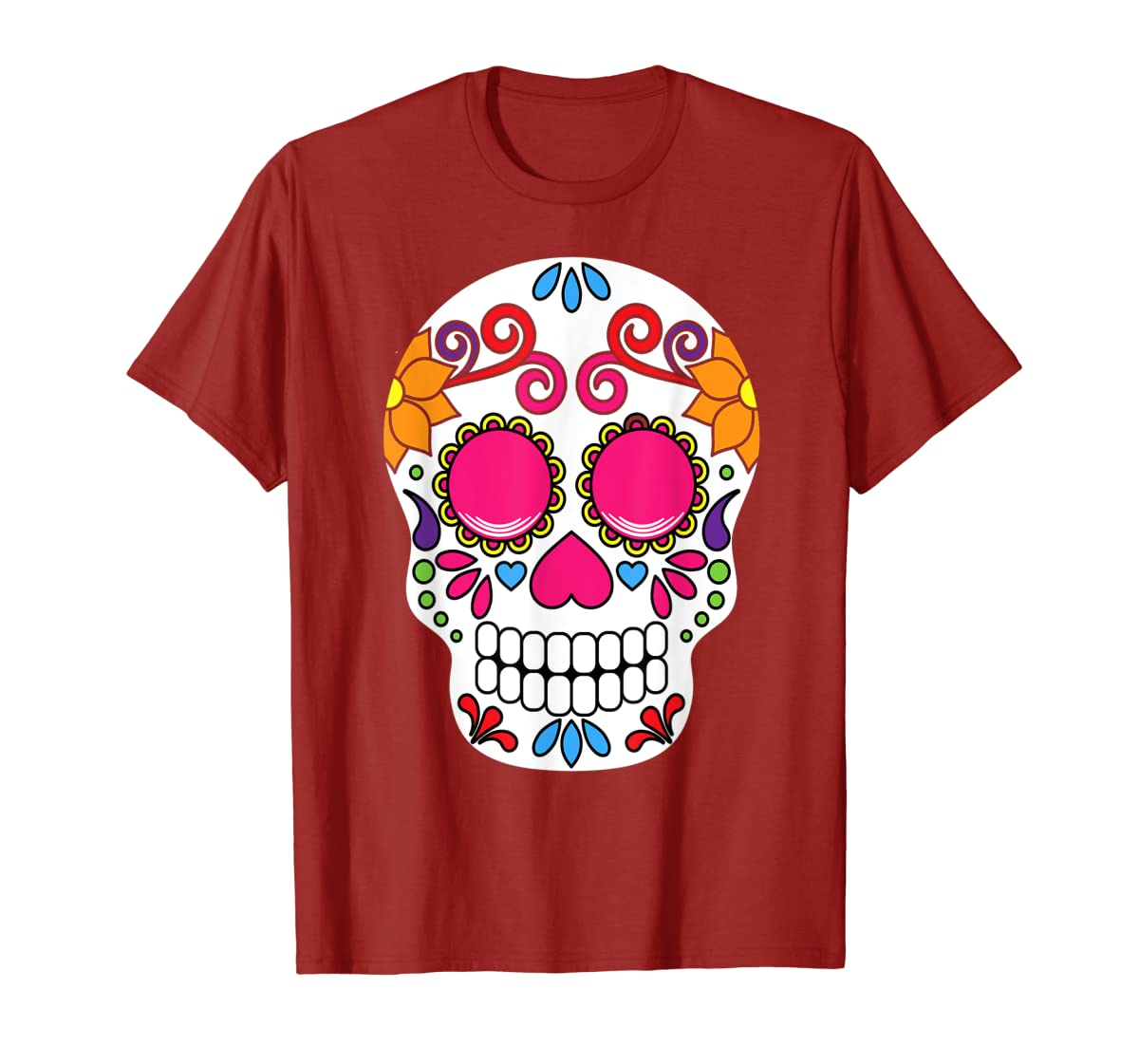 Colorful Day Of The Dead Sugar Skull Halloween T-shirt-Men's T-Shirt-Red