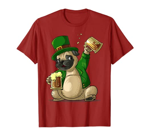 56c1f2ca0 Image Unavailable. Image not available for. Color: Cool Irish Leprechaun  Pug St. Patrick's Day Shirt Funny Gift
