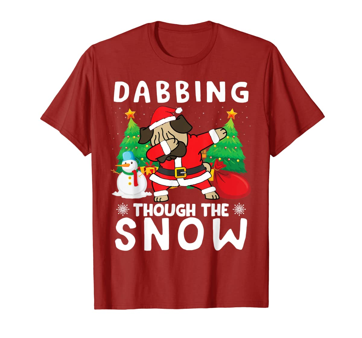 Pug Dabbing Through The Snow Penguins Christmas Presents T-Shirt-Men's T-Shirt-Red