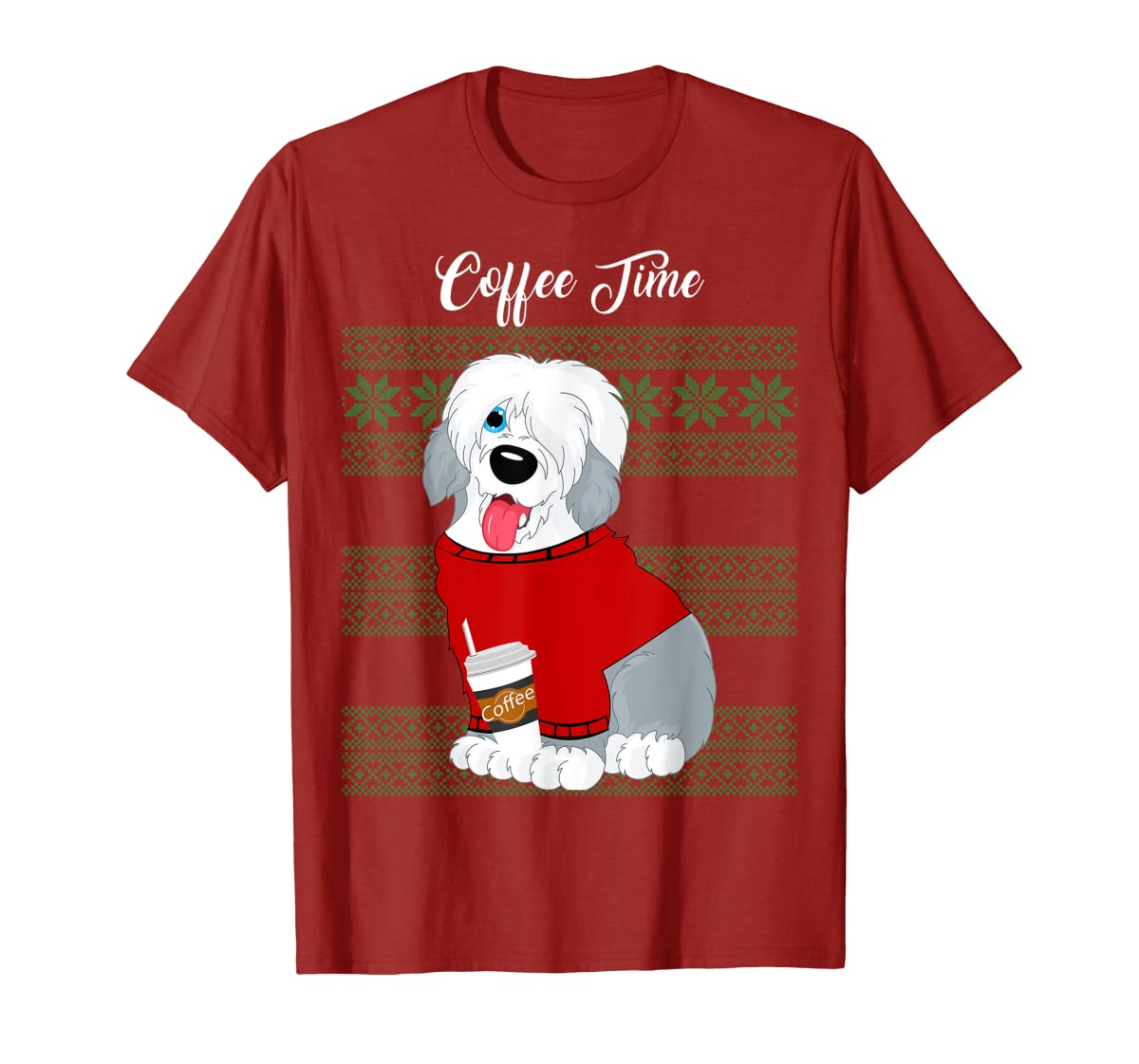 Old English Sheepdog Christmas Coffee Time Dog Long Sleeve-Men's T-Shirt-Red