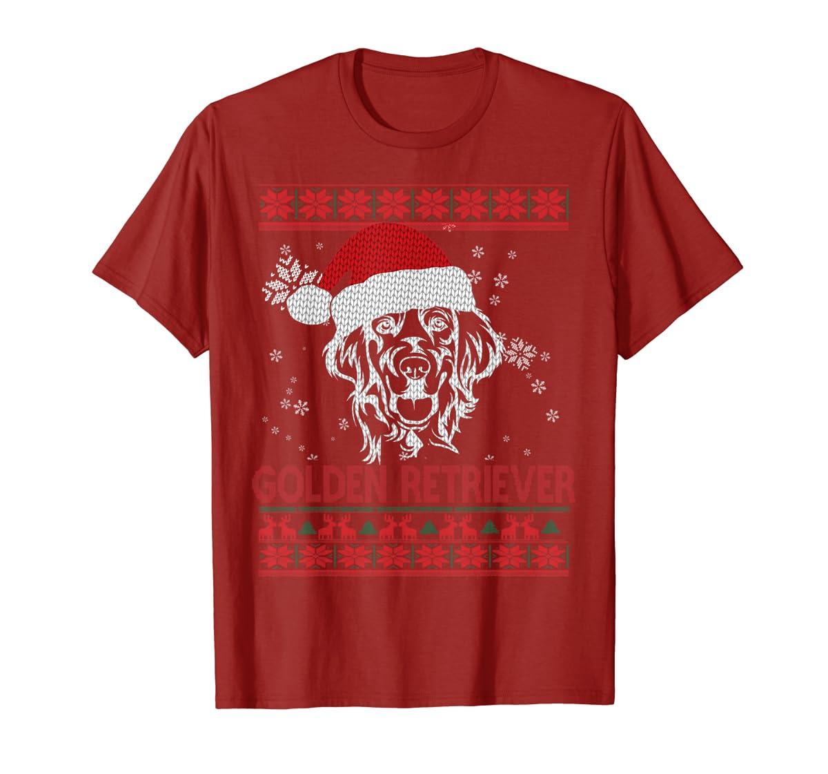 Ugly Christmas Golden Retriever Santa Hat Dog Gift T-Shirt-Men's T-Shirt-Red
