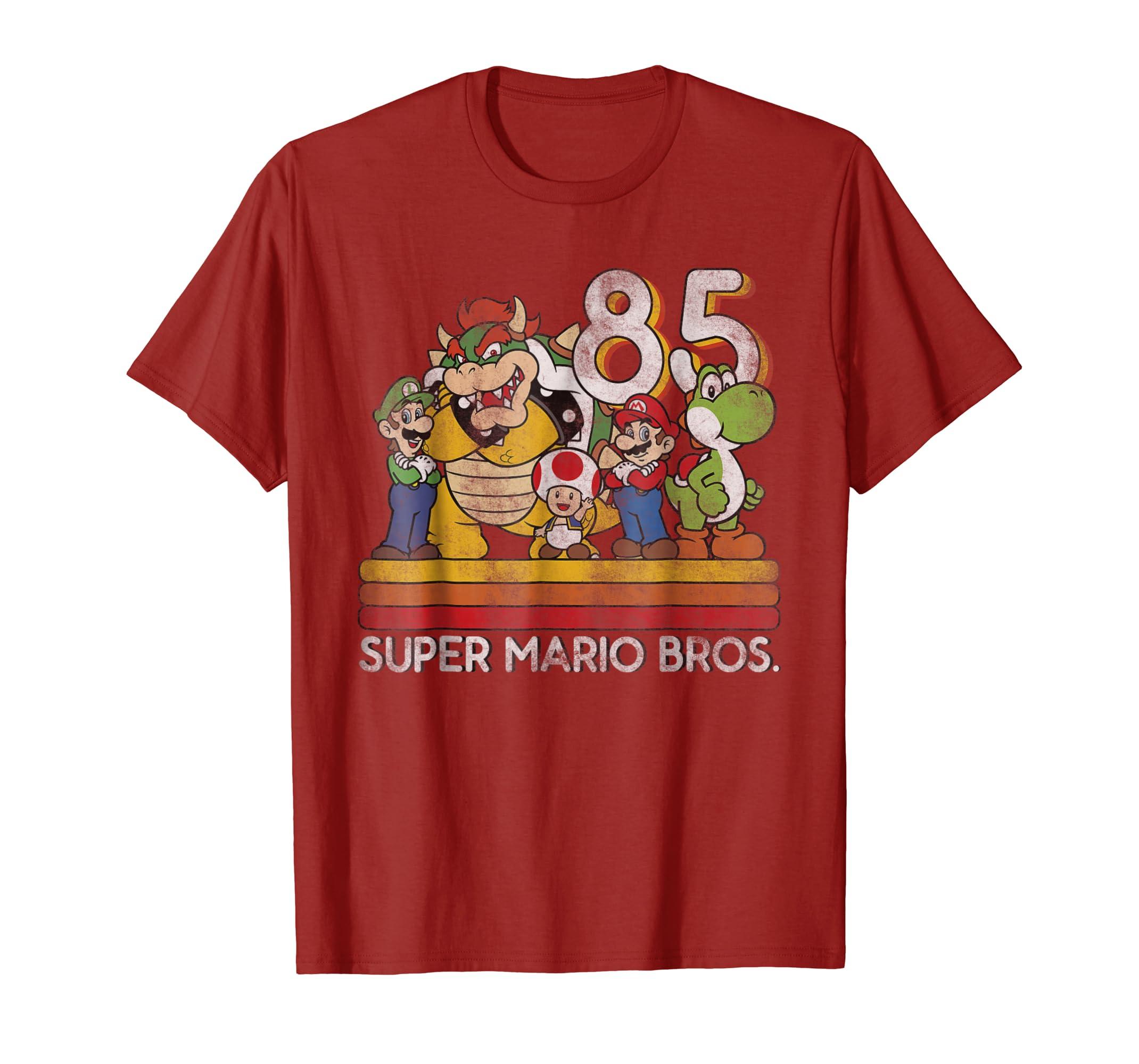 d8bf03bbe3 Amazon.com: Nintendo Super Mario Retro Character Line-Up Graphic T-Shirt:  Clothing