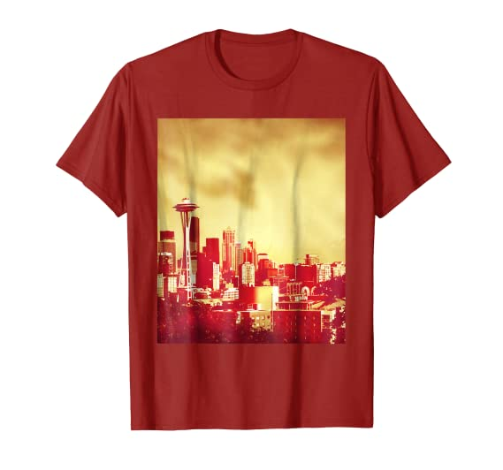 Golden Seattle Skyline T-Shirt by Christine aka stine1 on Amazon.com