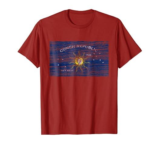 9ae7c4c9b3 Amazon.com: Vintage Key West Flag T-shirt Conch Republic: Clothing