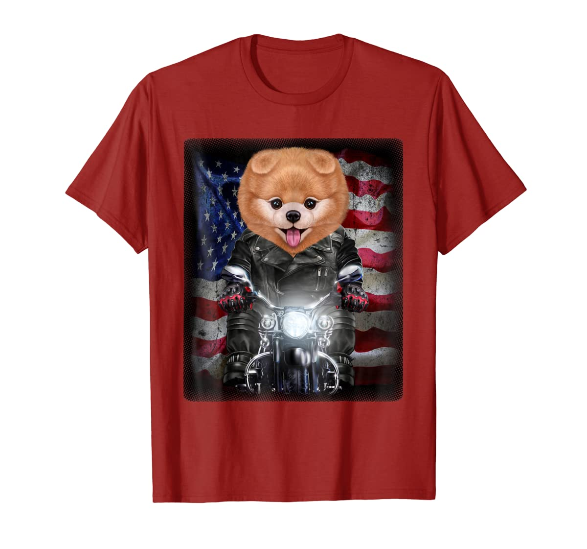Pomeranian Dog on Motorbike with Flag of USA - T-Shirt-Men's T-Shirt-Red