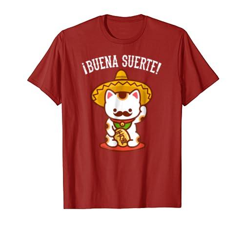 Amazon.com: Funny Cat T-Shirt: Mexican MANEKI-NEKO - Buena Suerte!: Clothing