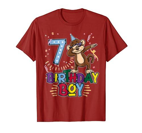 Funny Birthday Gift 7 Year Old Boy Dabbing Monkey T Shirt