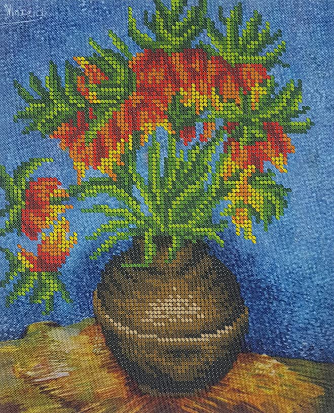 Vincent Van Gogh, Flowers, 3D Bead Embroidery kit, Needlepoint Tapestry Handcraft kit