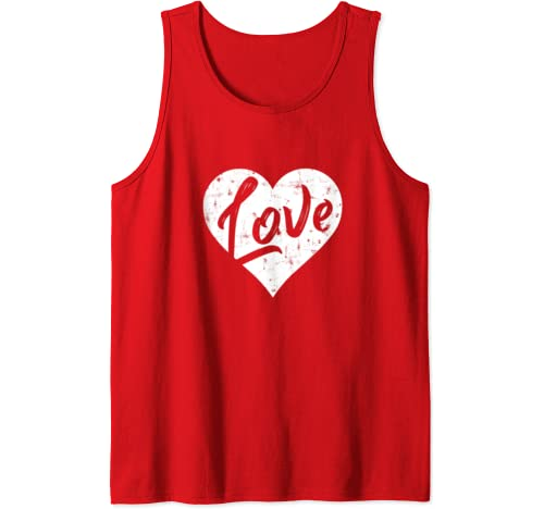 Cute Cursive Love Valentines Day Gift Distressed Heart Red Tank Top