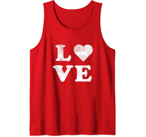 Cute Love Heart Valentines Day Retro Red Top Tank Top