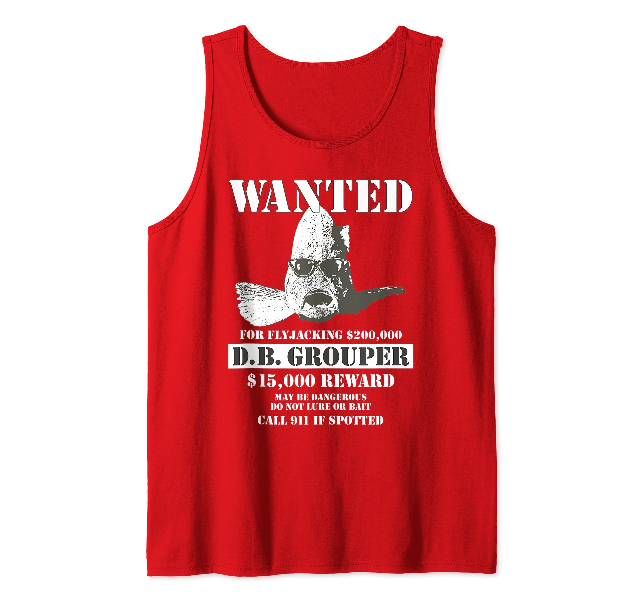 e22939ba48ff0 Amazon.com: Wanted Poster Funny T Shirt D.B. Grouper Flyjacker Fish ...