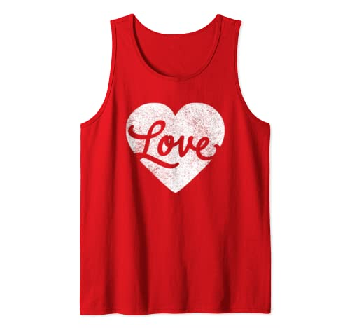 Cute Cursive Love Valentines Day Red T Shirt For Men & Women Tank Top