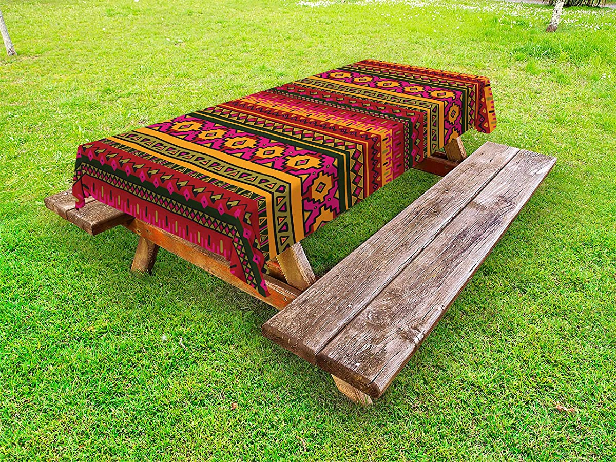 Lunarable Aztec Outdoor Tablecloth, South American Abstract Borders Mexican Peruvian Folk Art Elements Boho Doodle, Decorative Washable Picnic Table Cloth, 58 X 84 inches, Pink Green Orange