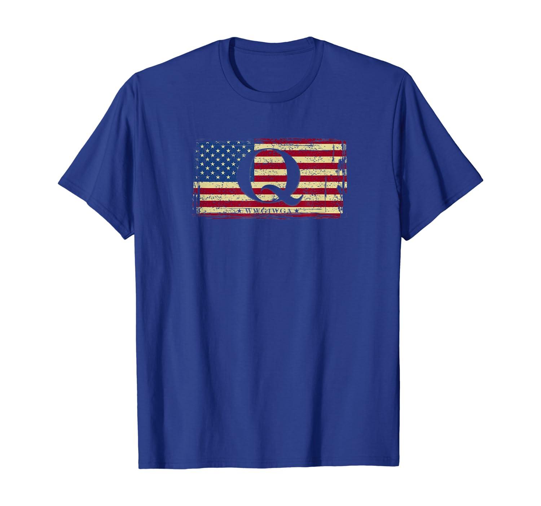 QAnon WWG1WGA Q Anon Great Awakening MAGA USA Flag T-Shirt Unisex Tshirt