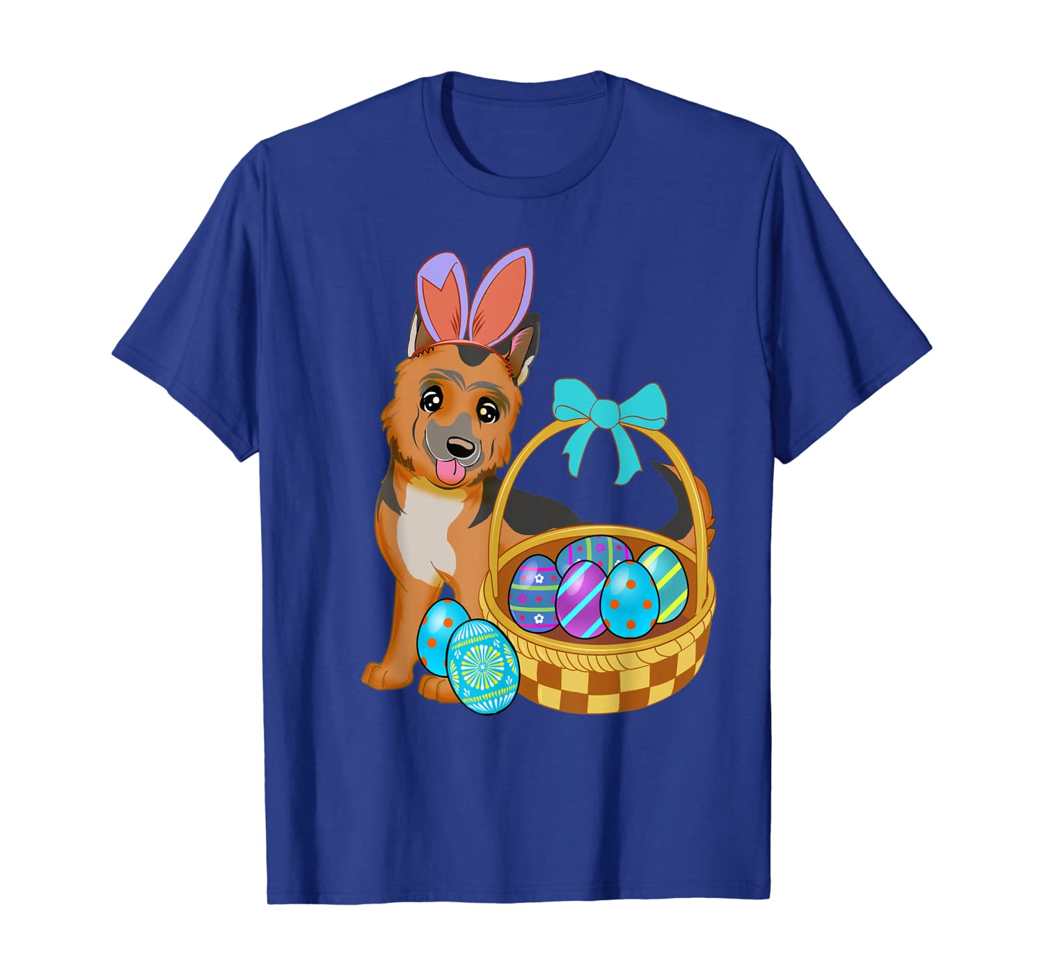 German Shepherd Dog Easter Holiday Gift Bunny Ears and eggs T-Shirt