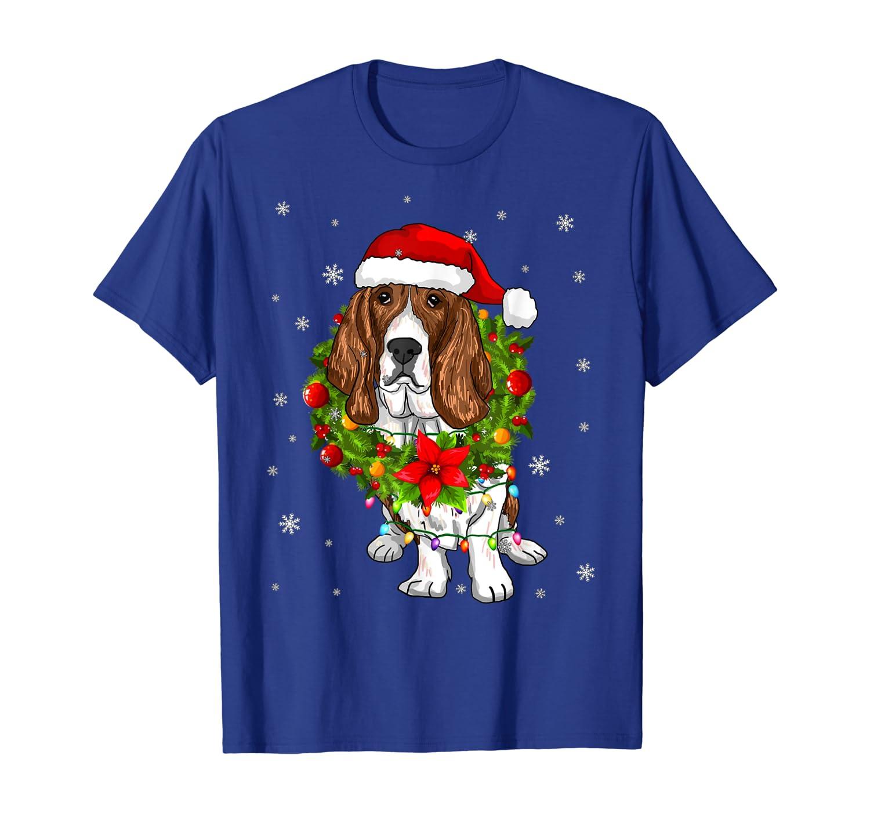 Santa Basset Hound Dog with Christmas lights Gifts Xmas T-Shirt