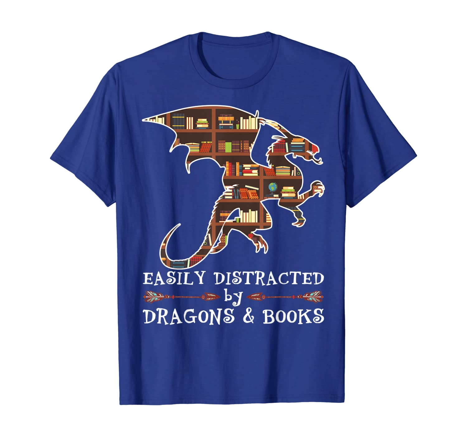 Easily Distracted By Dragons And Books Funny Gift T-Shirt