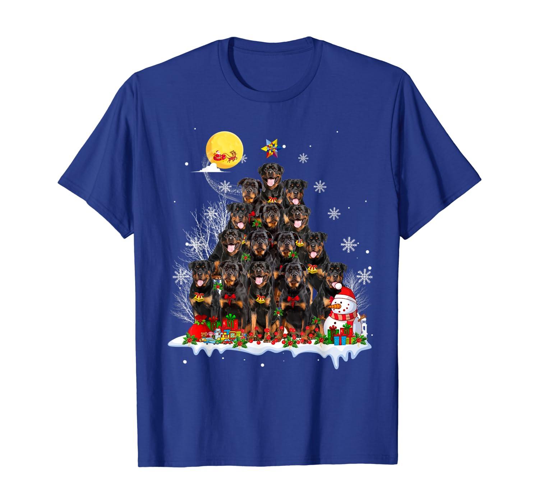Rottweiler Dog Reindeer Pine Christmas 2019 T-Shirt