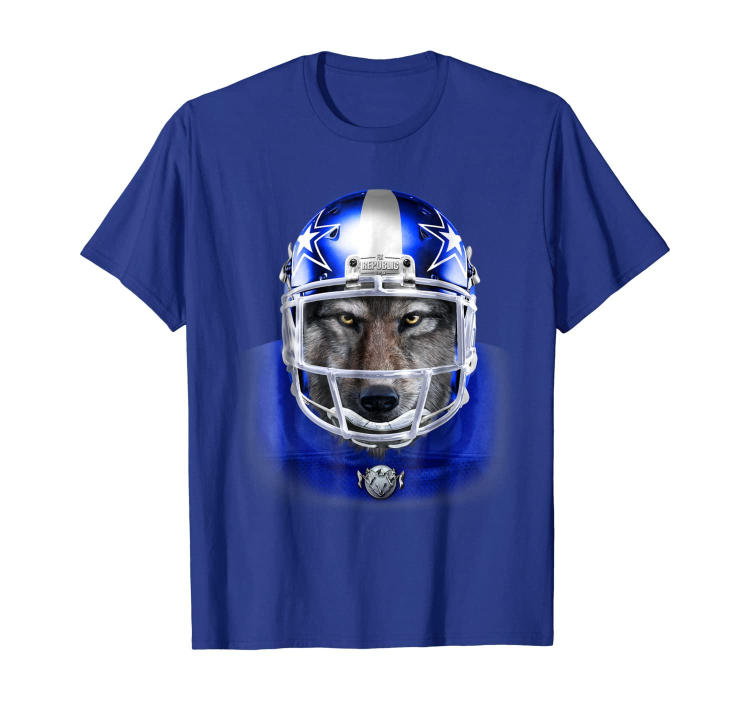 Gray Wolf in American Football Blue Helmet Rugby T-Shirt