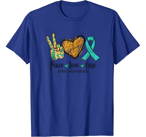 Peace Love Cure Ovarian Cancer Awareness Funny Gift T Shirt