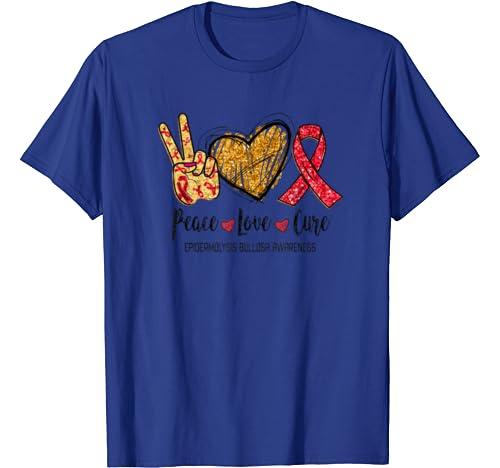 Peace Love Cure Epidermolysis Bullosa Awareness Funny Gift T Shirt