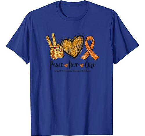 Peace Love Cure Sensory Processing Disorder Awareness Funny T Shirt