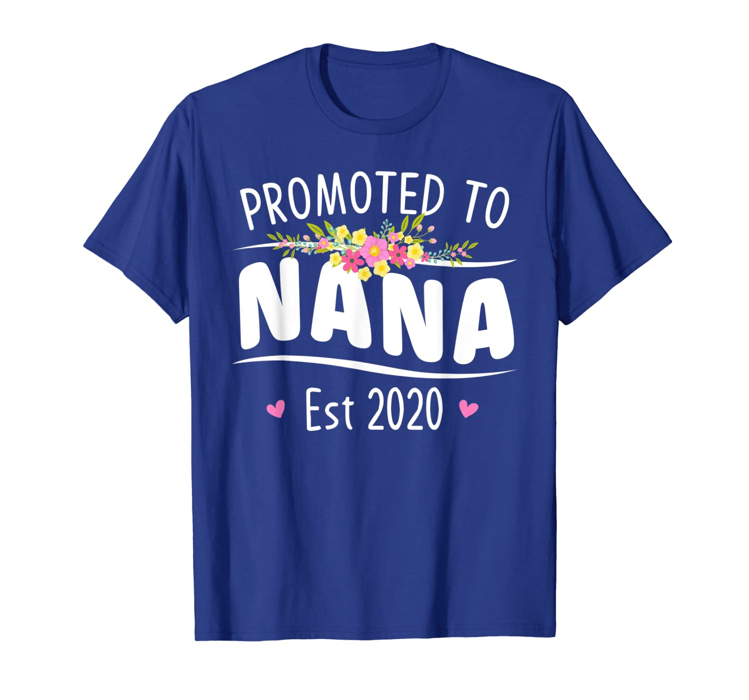 Womens Promoted to Nana Est 2020 - First Time Floral Grandma T-Shirt