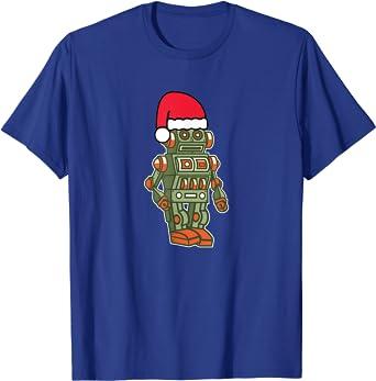 BATCH1 CHRISTMAS TOY ROBOT WITH SANTA HAT NOVELTY XMAS KIDS FESTIVE T-SHIRT
