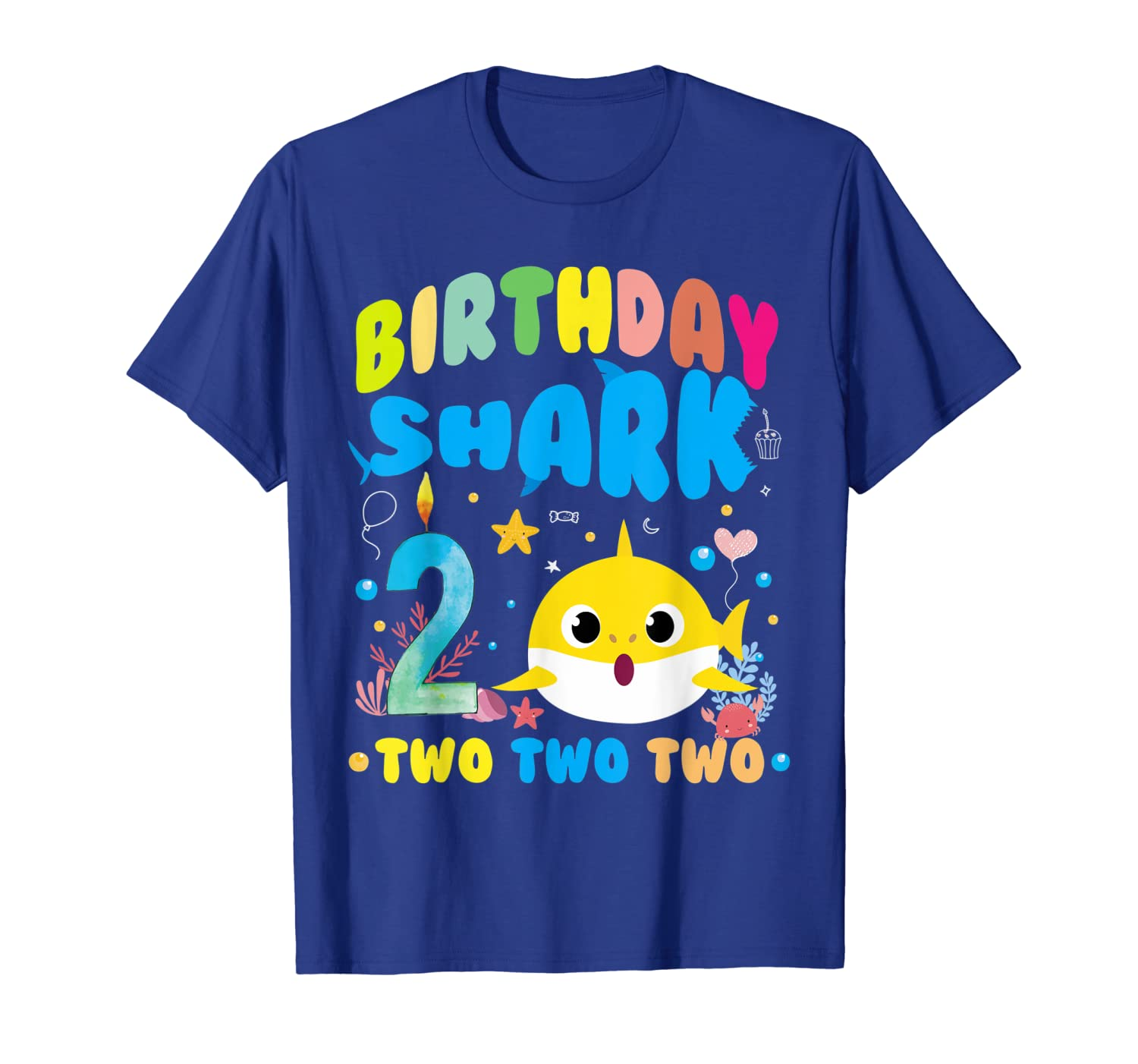 2nd Birthday Boy Shark birthday Party Gifts for Kids T-Shirt-ANZ