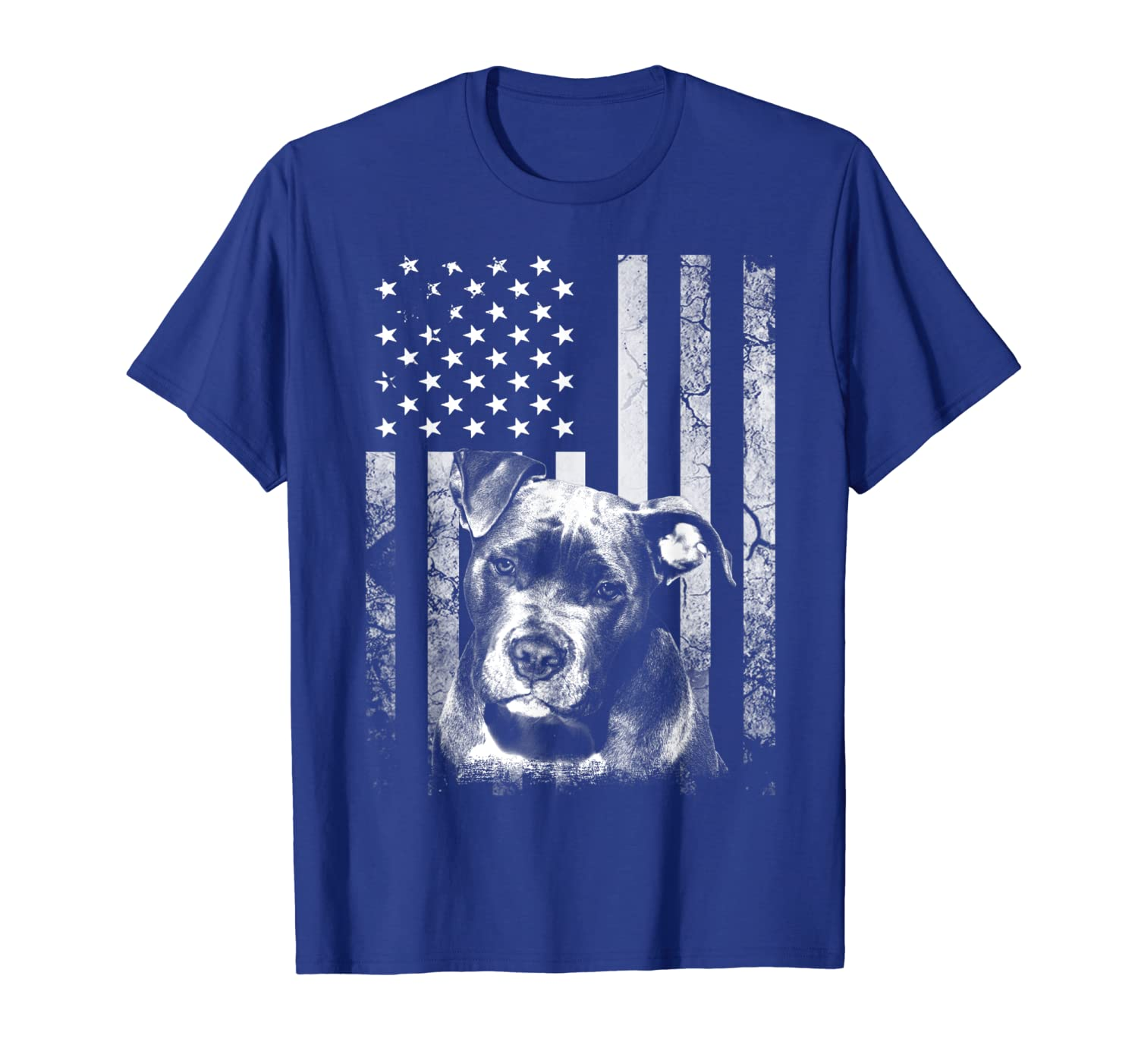 American PitBull Terrier 4th of July usa Dog Flag Patriotic T-Shirt