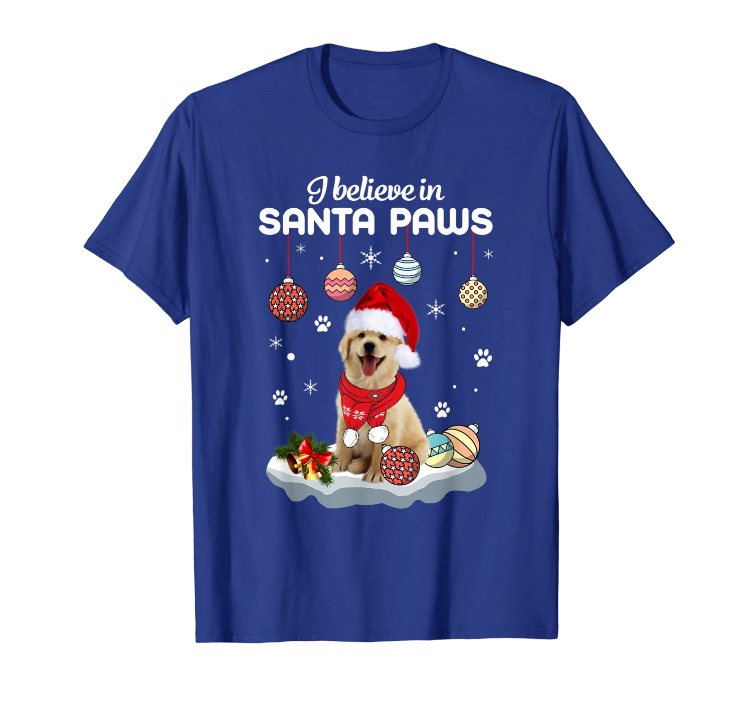 golden retriever dog i believe in santa paws dog in red T-Shirt