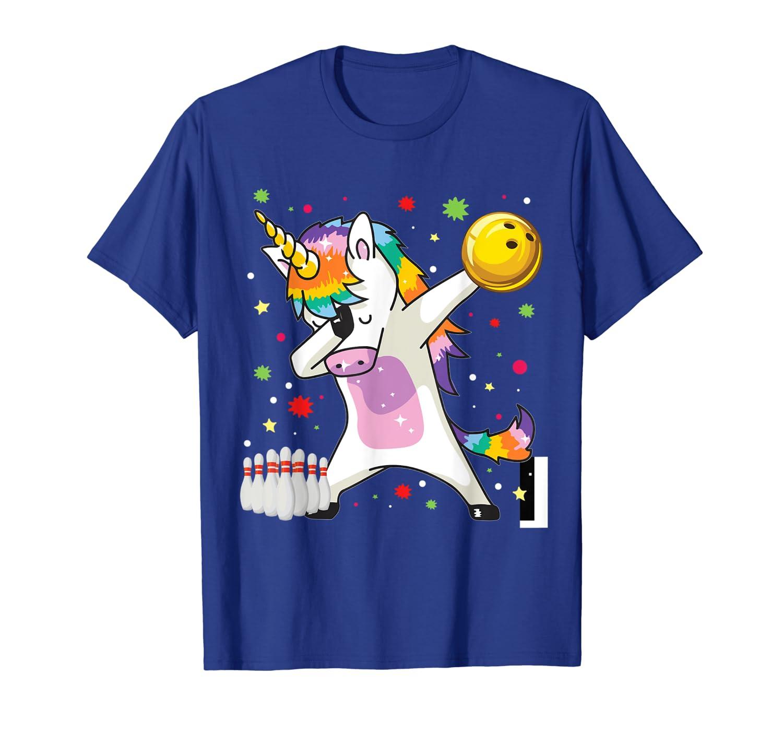 Dabbing Unicorn Bowling Shirts Funny Bowling Gift Boy Girl T-Shirt-ANZ
