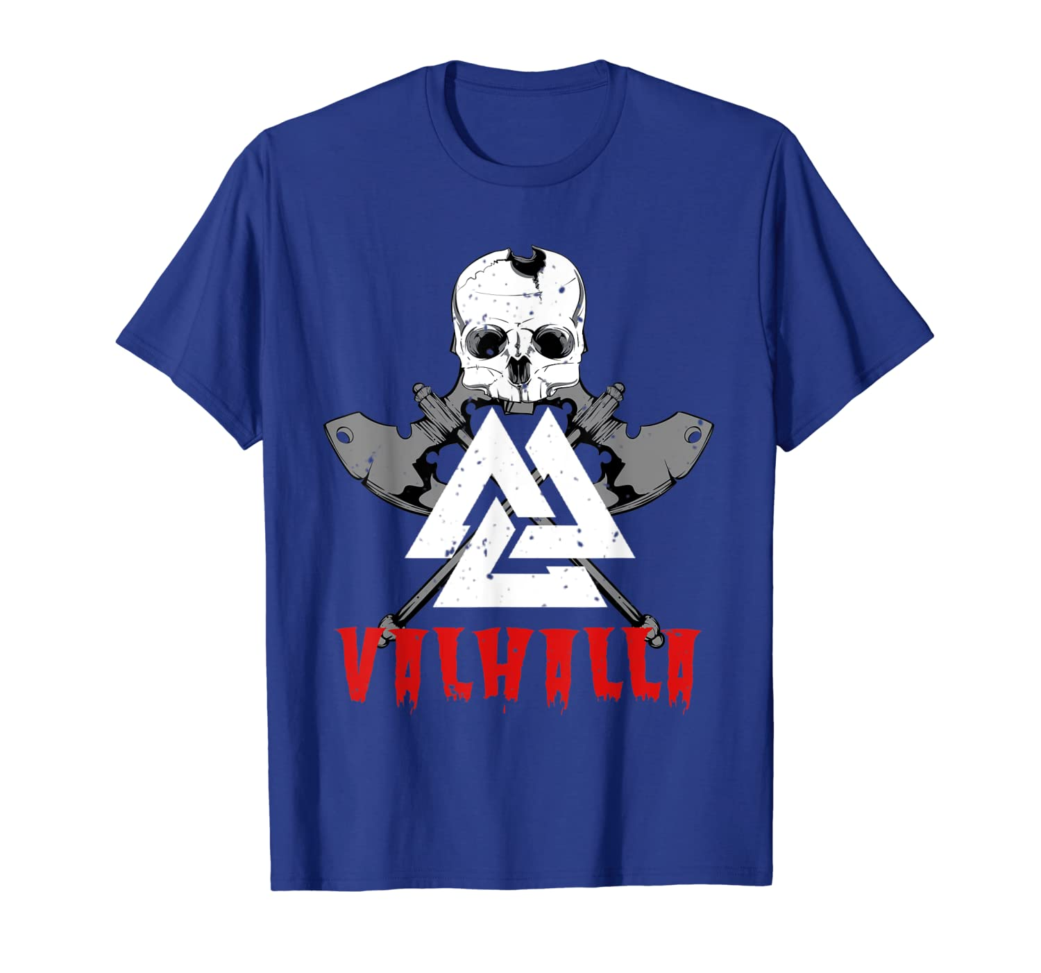 Viking Warrior T Shirt, Viking Axe Valknut Skull Valhalla T-Shirt-TH