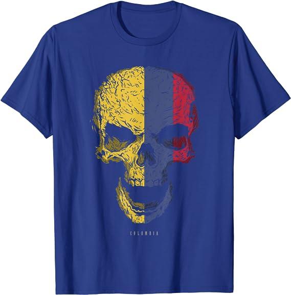 Camiseta Calavera con Bandera de Colombia Cráneo ...