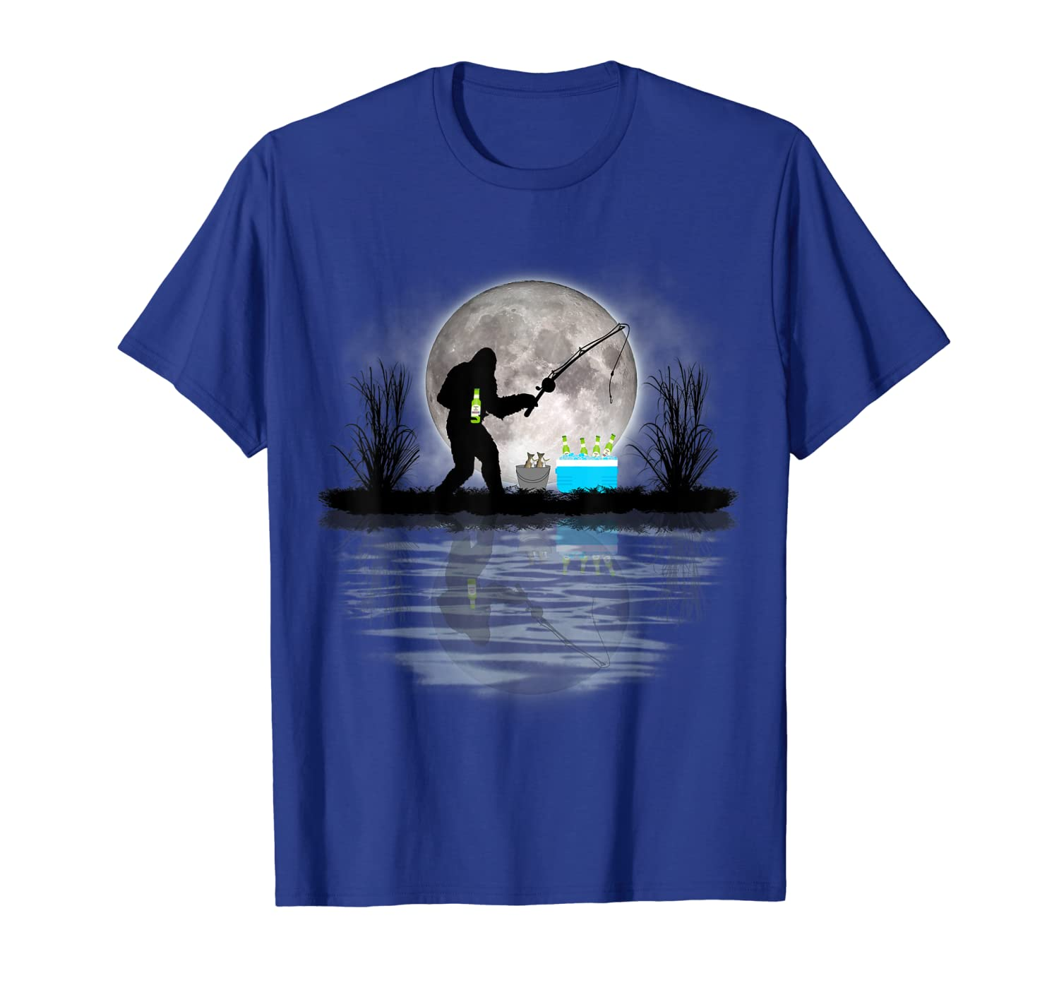 Bigfoot Fishing Tee Funny Sasquatch Fishing & Beer Gift T-Shirt Unisex Tshirt
