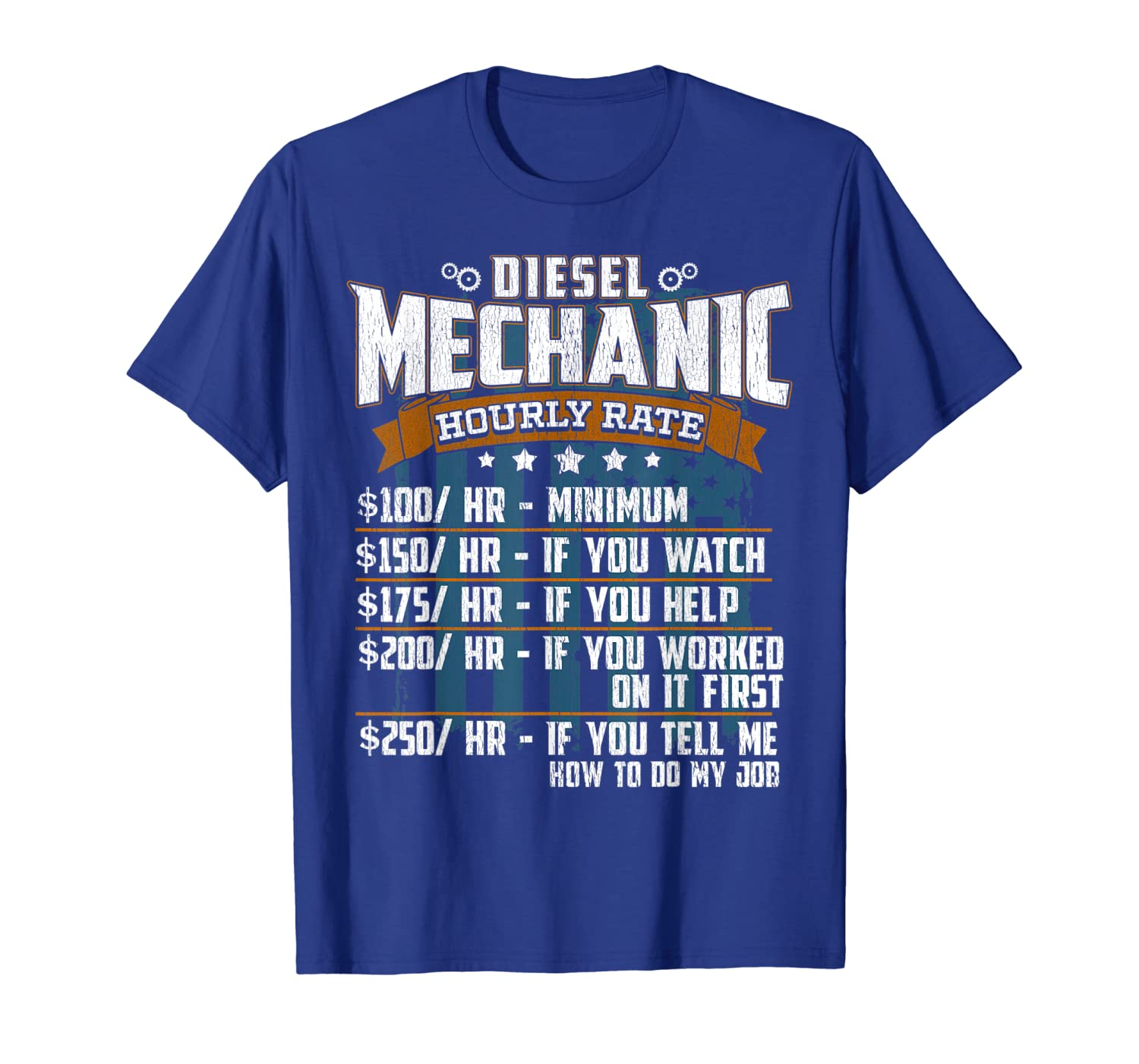 Diesel Mechanic Hourly Rate Gift T-Shirt-ANZ