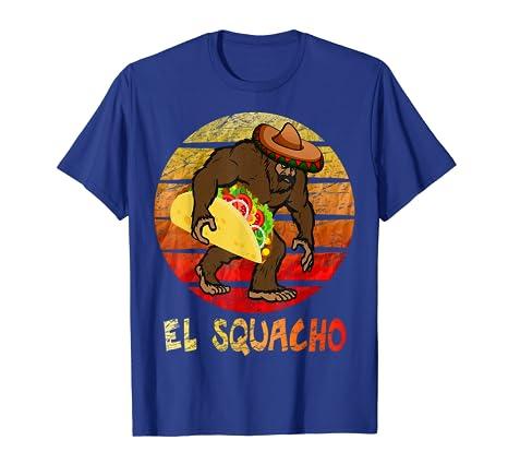 Amazon.com: El Squacho Sasquatch Taco Sombrero TShirt Cinco ...
