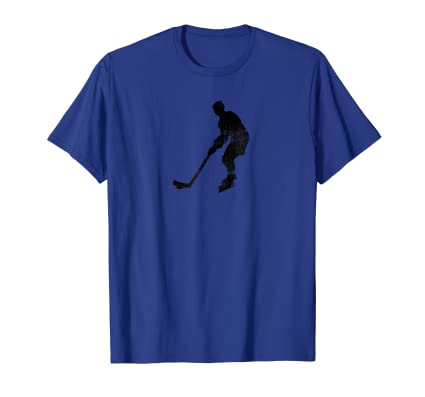 Hockey Player skating on ice with puck and gear t shirt