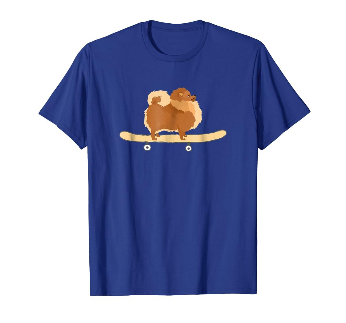 Funny Skateboarding Pomeranian Pom Puppy T-Shirt Gift-Men's T-Shirt-Royal