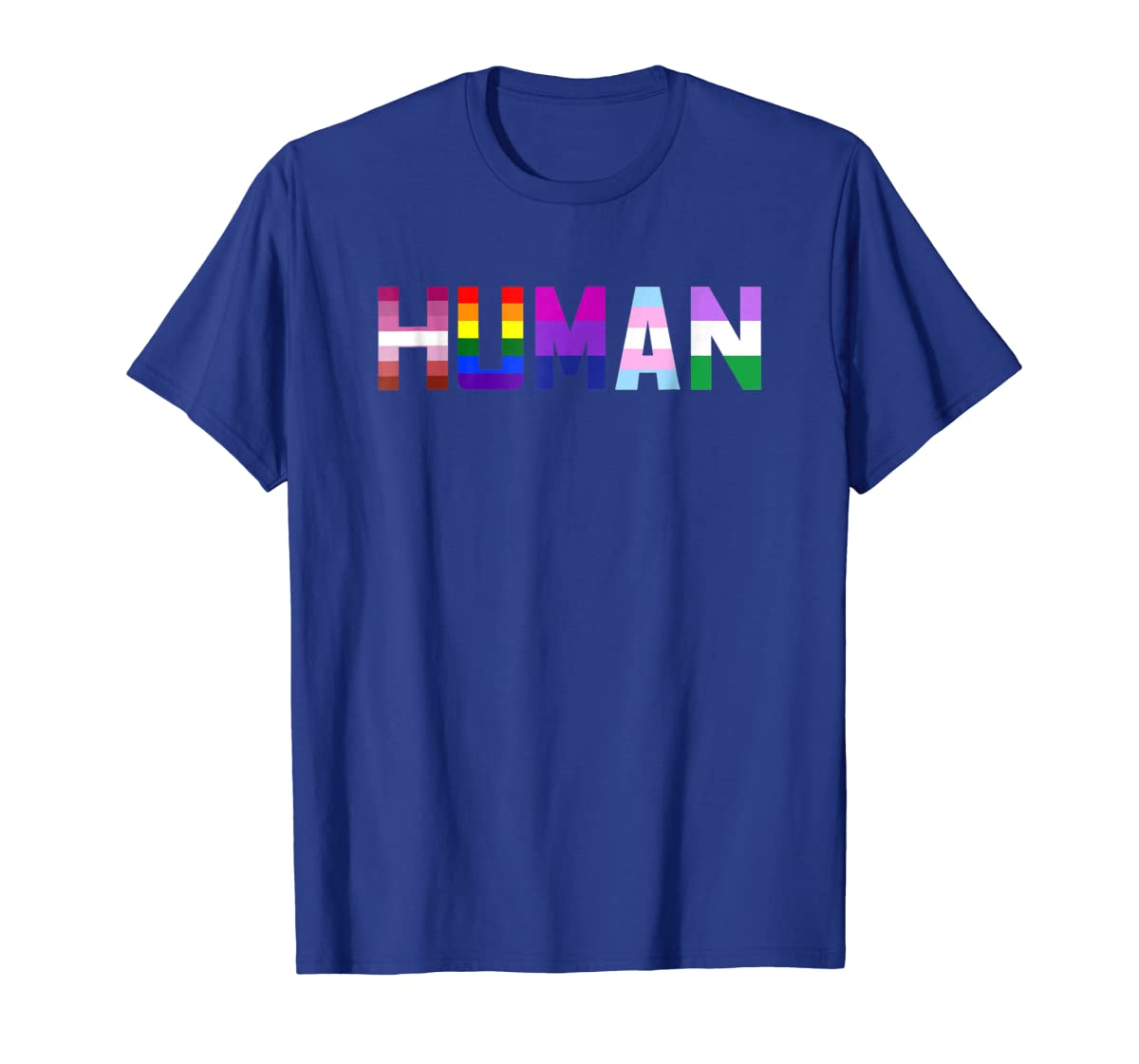 HUMAN Flag LGBT Gay Pride Month Transgender Ally T Shirt-Men's T-Shirt-Royal