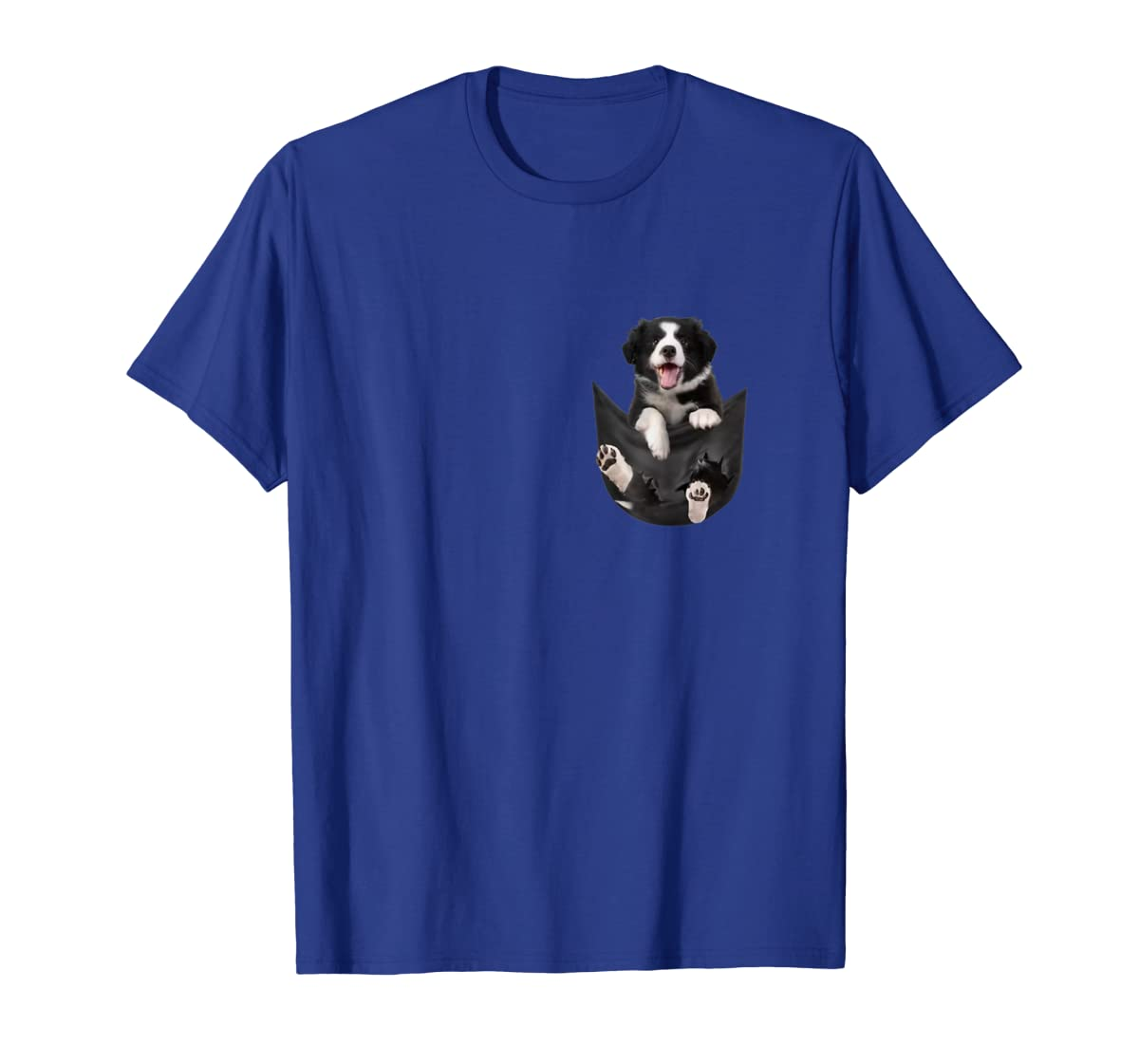 Border Collies Inside In Pocket Dog Lover T shirt Funny Cute-Men's T-Shirt-Royal