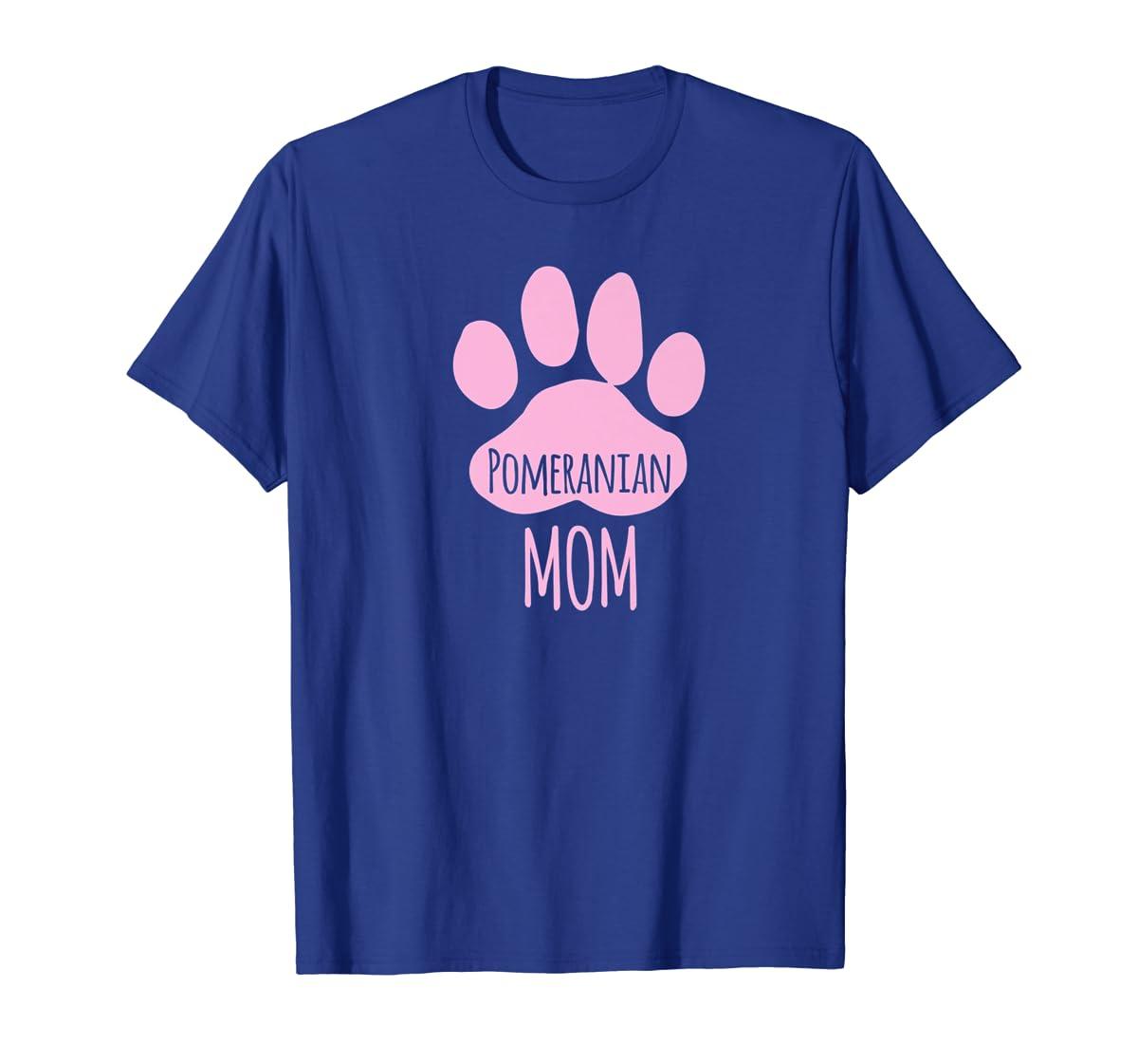 Cute Pomeranian Mom T Shirt for Pom Owner Dog Paw Pink-Men's T-Shirt-Royal