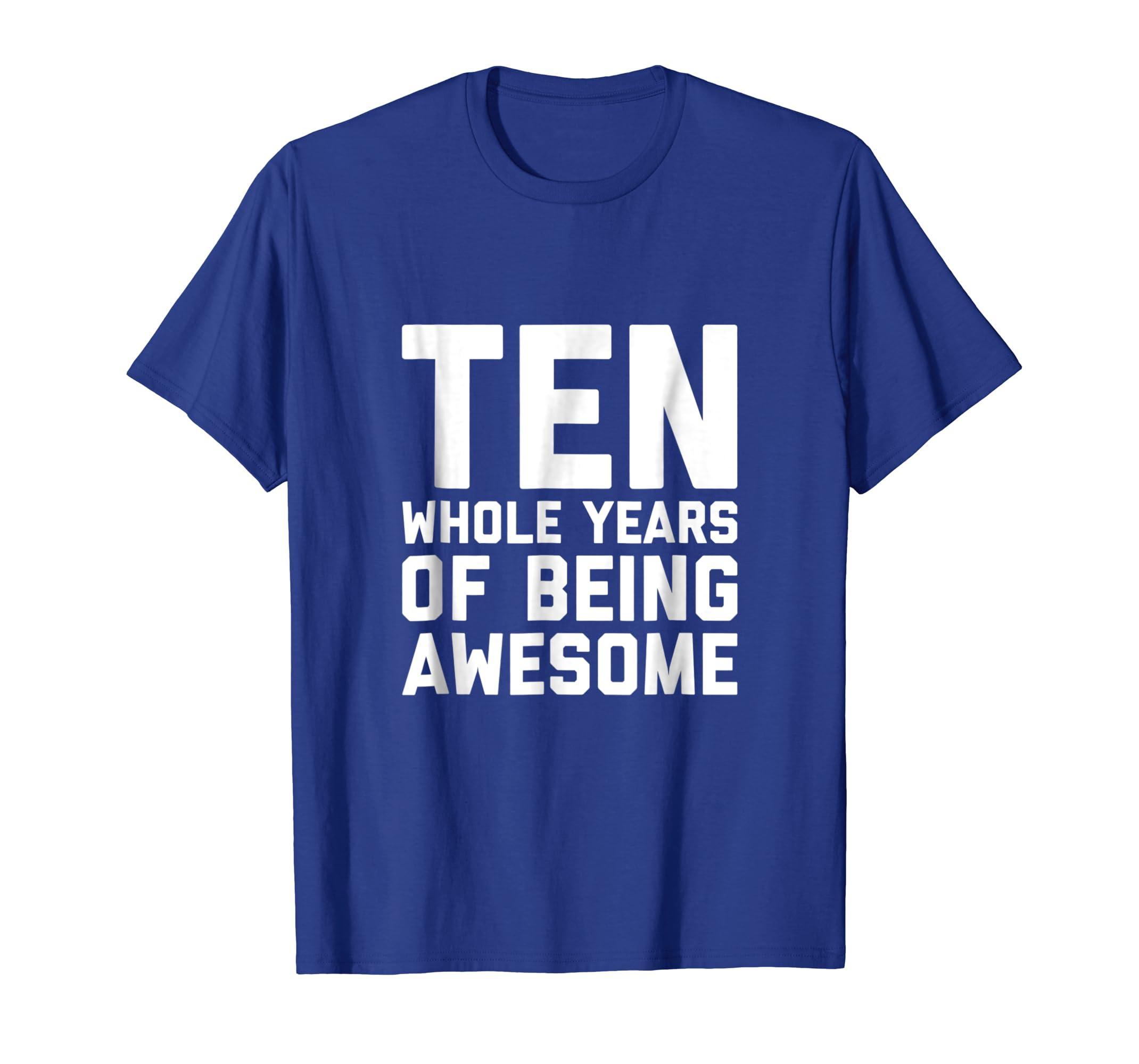 Amazon 10th Birthday Shirt Gift Age 10 Ten Year Old Boy Girl Kids Clothing