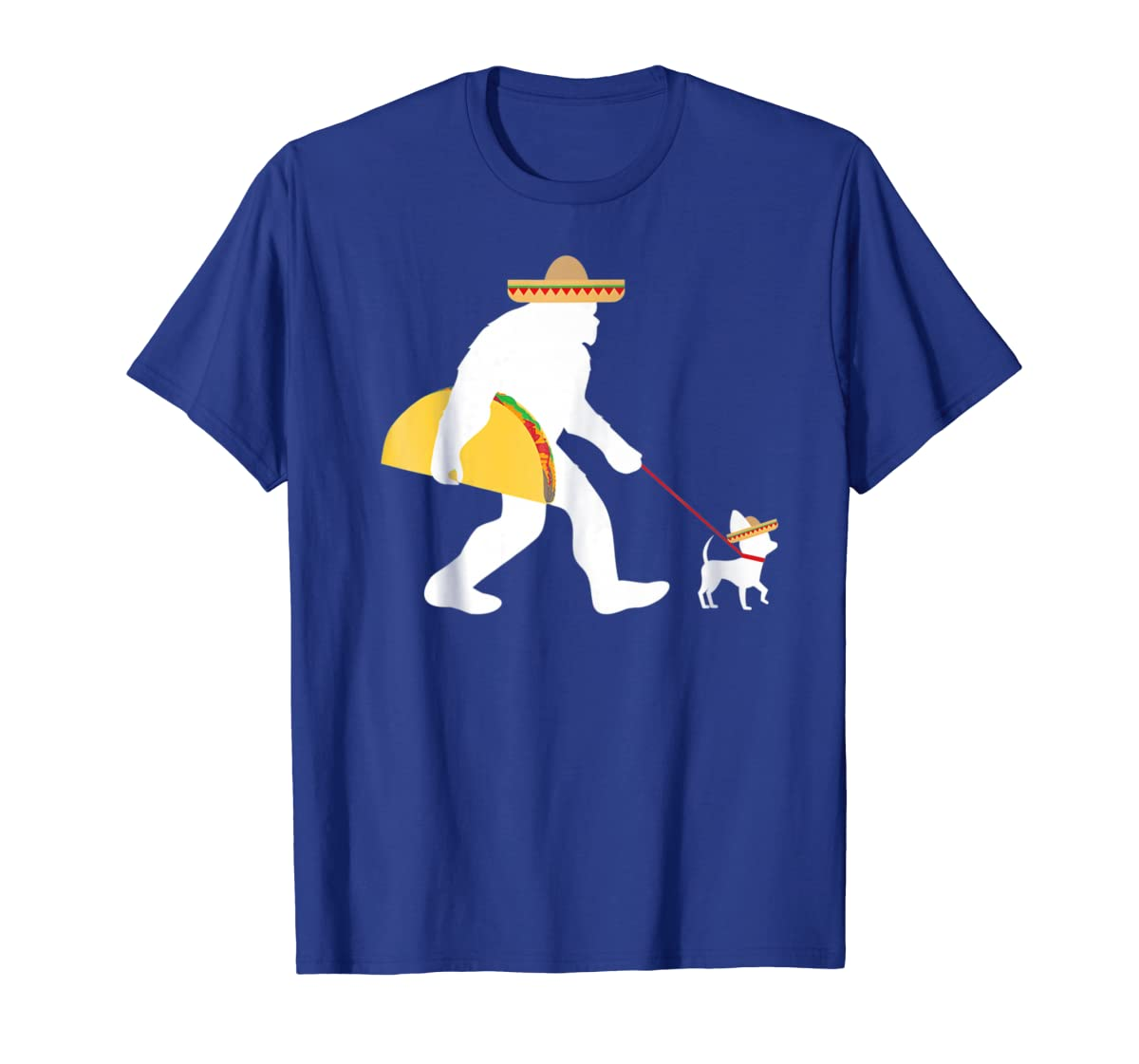 Bigfoot Taco Sombrero Chihuahua Dog Cinco de Mayo T-shirt-Men's T-Shirt-Royal