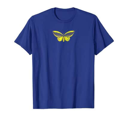 Butterfly yellow and grey graphic arts nature lovers t shirt