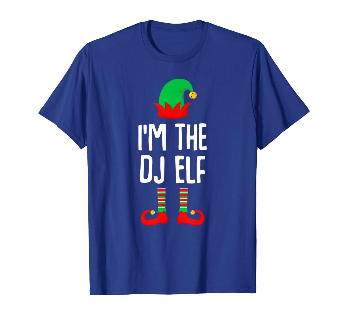 I'm The Dj Elf Matching Family Group Christmas T-Shirt-Men's T-Shirt-Royal