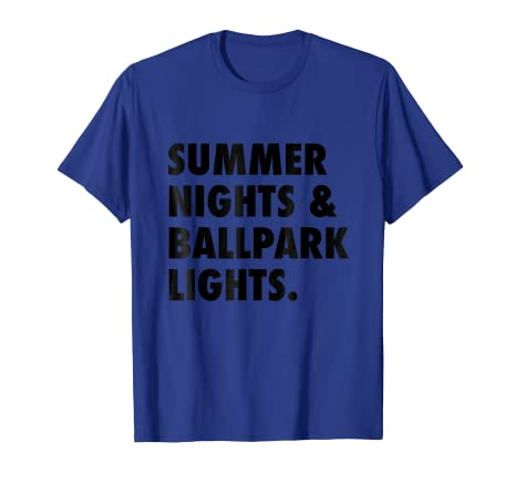 c44939bc907 Image Unavailable. Image not available for. Color  Summer Nights and Ballpark  Lights Baseball T-Shirt